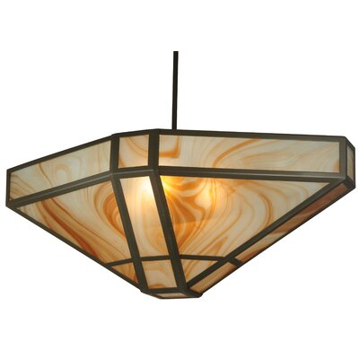 Geometric Cognac Swirl 4-Light Inverted Pendant