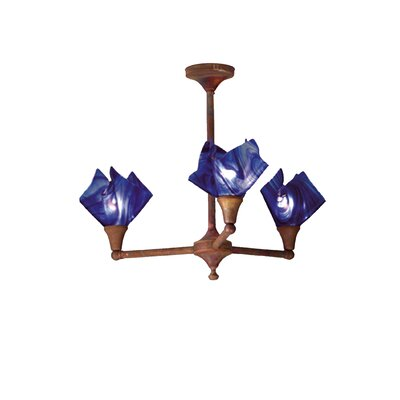 Curacao Swirl Handkerchief 3-Light Semi Flush Mount