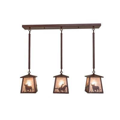 Cowboy and Steer 3-Light Kitchen Island Pendant