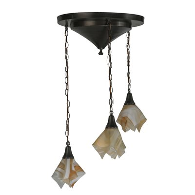 Metro Blush Swirl Handkerchief 3-Light Cascade Pendant