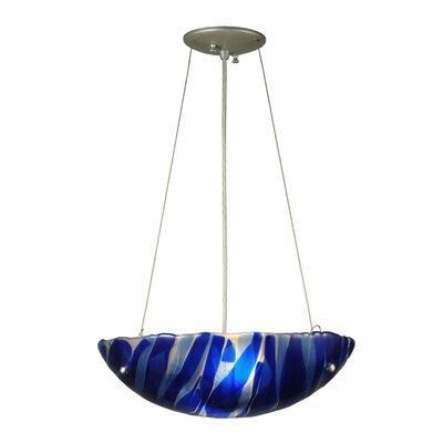 Metro Fusion Azul Glass 3-Light Inverted Pendant