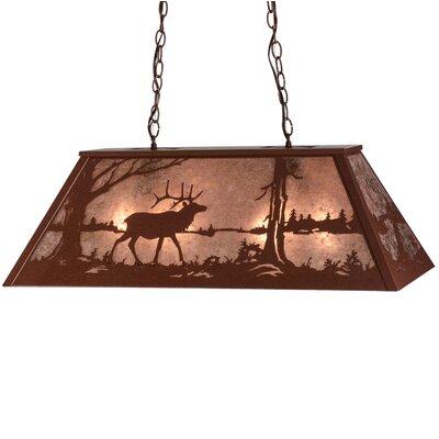 Elk at Lake 6-Light Billiard Light Size: 22 - 42 H x 48 W x 17 D
