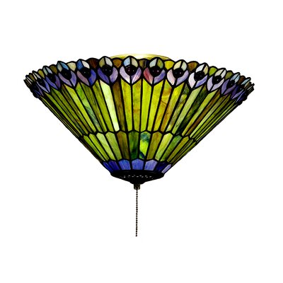 Tiffany Jeweled Peacock Flushmount Light