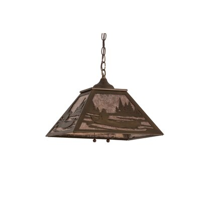Canoe At Lake 2-Light Pendant Shade Color: Silver