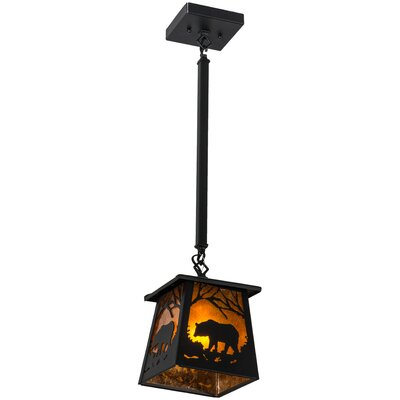 Bear at Dawn 1-Light Mini Pendant Finish: Black