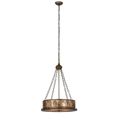 Mountain Pine 4-Light Inverted Pendant Finish: Antique Copper, Shade Color: Silver
