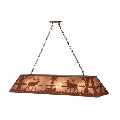Elk at Lake 9-Light Billiard Pendant