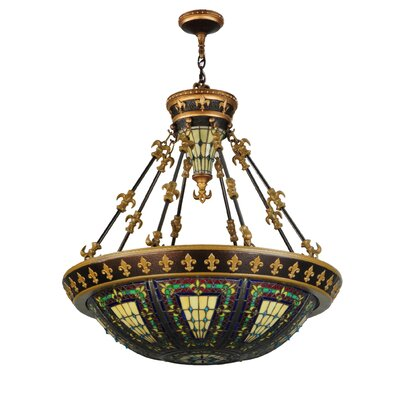 Fleur-de-lis Uplights 6-Light Inverted Pendant