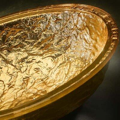 Undermount Glass Bathroom Sink with Overflow Sink Finish: 24K Gold