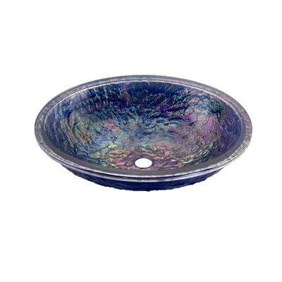 Glass Circular Undermount Bathroom Sink with Overflow Sink Finish: Slate Blue Reflections