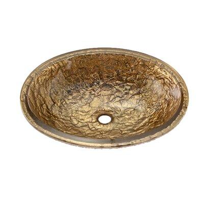 Glass Circular Undermount Bathroom Sink with Overflow Sink Finish: 24K Gold