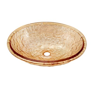 Glass Circular Undermount Bathroom Sink with Overflow Sink Finish: Champagne Gold