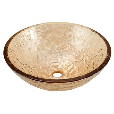 Glass Circular Vessel Bathroom Sink Sink Finish: Champagne Gold