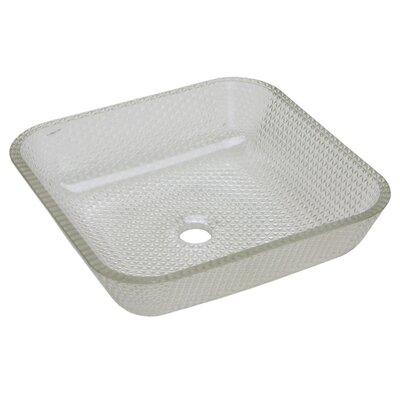 Cubix Glass Square Vessel Bathroom Sink Sink Finish: Crystal