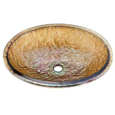 Glass Oval Undermount Bathroom Sink Sink Finish: Green Reflections