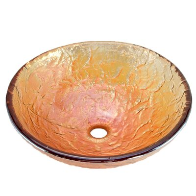 Glass Circular Vessel Bathroom Sink Sink Finish: Gold Reflections