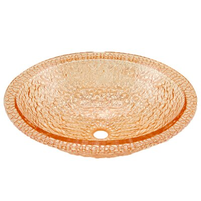Pebble Glass Oval Vessel Bathroom Sink Sink Finish: Champagne Gold