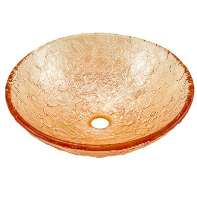 Glass Circular Vessel Bathroom Sink Sink Finish: Champagne Gold