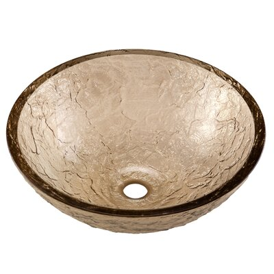 Glass Circular Vessel Bathroom Sink Sink Finish: Fawn