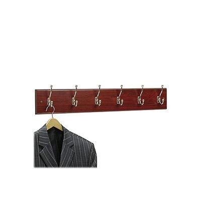 Safco Six Hook Wood Wall Rack
