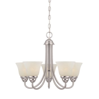 Eichelberger 5-Light Shaded Chandelier Finish: Brushed Nickel