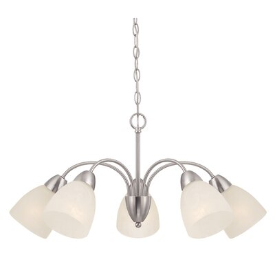 Jefferson 5-Light Shaded Chandelier Finish: Brushed Nickel