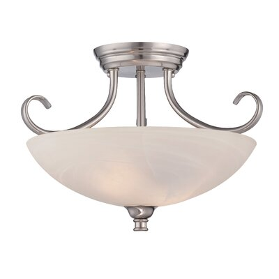 Lafayette 2-Light Semi-Flush Mount Finish: Satin Platinum