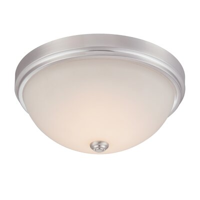 Hopkins Flush Mount Finish: Satin Platinum, Size: 6.75 H x 15 W x 15 D