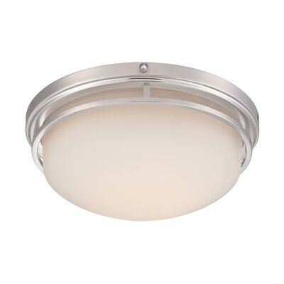 Belia Flush Mount Finish: Satin Platinum, Size: 6 H x 15 W x 15 D