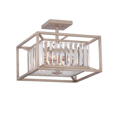 Lecia 3-Light Semi Flush Mount Finish: Aged Platinum