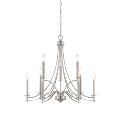 Cassina 9-Light Candle-Style Chandelier Finish: Satin Platinum