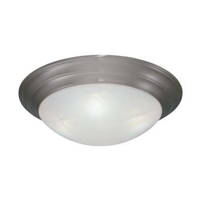 Lunar Flush Mount Finish / Size / Shade Color: Pewter/5.25 H x 16.75 W/White Alabaster Textured