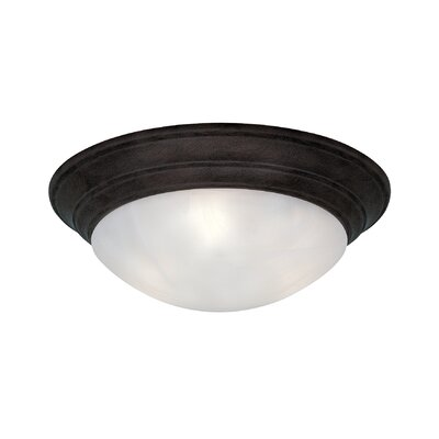 Lunar Flush Mount Finish / Size / Shade Finish: Oil Rubbed Bronze/4.75Hx14W/White Alabaster