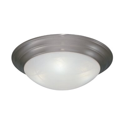 Lunar Flush Mount Finish / Size / Shade Color: Pewter / 4.75 H x 14 W /White Alabaster Textured