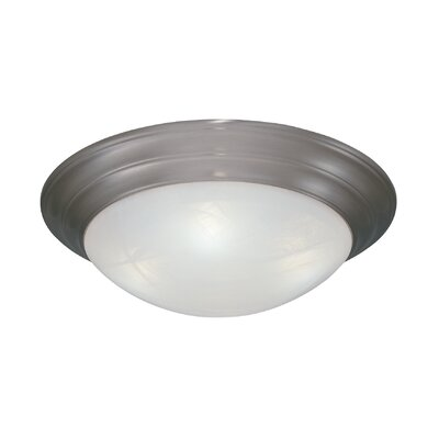 Lunar Flush Mount Finish / Size / Shade Finish: Pewter / 5.5 H x 20 W / Faux White Alabaster