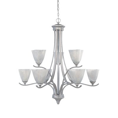 Bella Vista Nine Light Chandelier in Matte Pewter