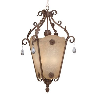 San Mateo Hall and Foyer Pendant in Ancient Oak Size: 36 H x 18 W