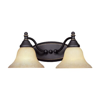 Savon 2-Light Vanity Light Finish / Shade Color: Aged Bronze Patina / Amber Glaze