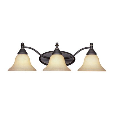 Savon 3-Light Vanity Light Finish / Shade Color: Aged Bronze / Amber Glaze