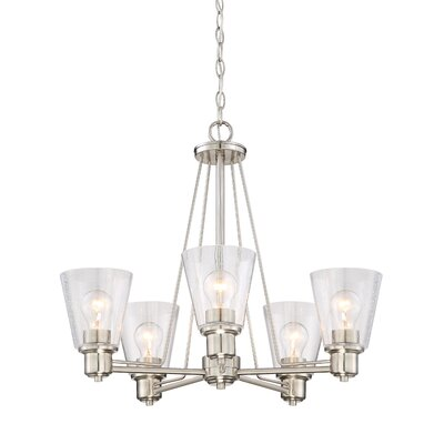 Printers Row 5-Light Shaded Chandelier Finish: Satin Platinum