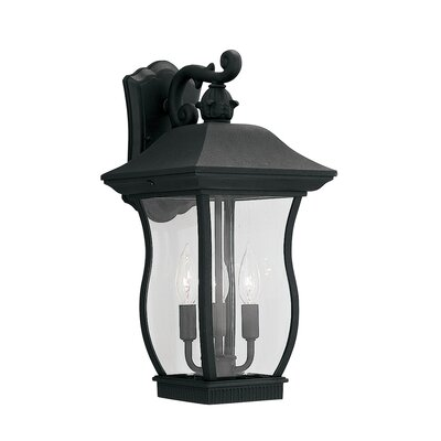 Chelsea 3-Light Outdoor Wall Lantern Finish: Black, Size: 18.5 H x 9 W