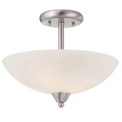 Jefferson 2-Light Semi-Flush Mount Finish: Brushed Nickel