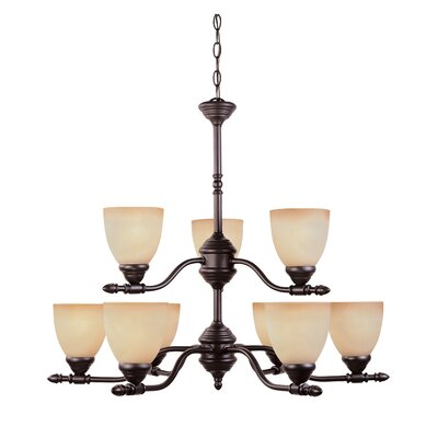 Apollo 9-Light Shaded Chandelier Finish: Oil Rubbed Bronze