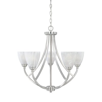 Tackwood 5-Light Shaded Chandelier Finish: Satin Platinum