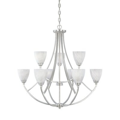 Stan 9-Light Shaded Chandelier Finish: Satin Platinum