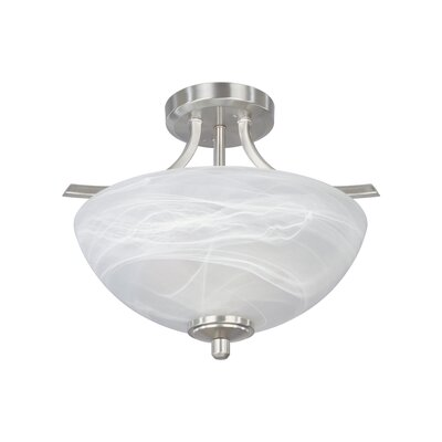 Tackwood 2-Light Semi Flush Mount Finish: Satin Platinum