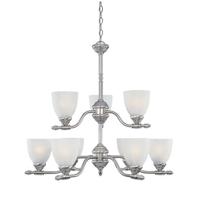 Apollo 9-Light Shaded Chandelier