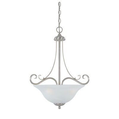 Stratton 3-Light Inverted Pendant Glass Color: Faux Alabaster