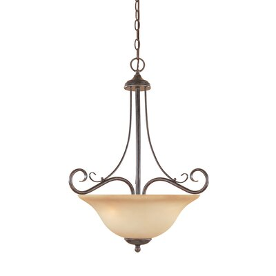 Stratton 3-Light Inverted Pendant Glass Color: Amber Sandstone