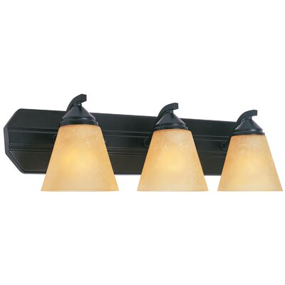 Piazza 3-Light Vanity Light Finish: Oil Rubbed Bronze with Golden Shade